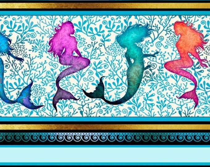 "Quilting Treasures - Sea Serenade  - Mermaid - Stripe  - Aqua -  36""x44""  - 27191Q - Sold by the Yard"