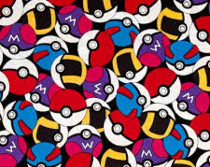Robert Kaufman - Pokemon - Pokeball - Pokemon Fabric - multi colored - Sold by the Yard