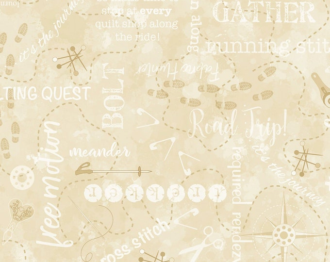 2020 Quilters Trek - True Blue - C7735 - Words -  Tan - Timeless Treasures - Sold by the Yard