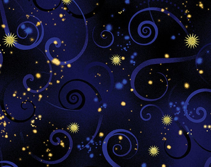 Kanvas for Benartex - Dance of the Dragonfly - Swirling Sky - Navy - 8500-59  - Gold Metallic - Sold by the Yard