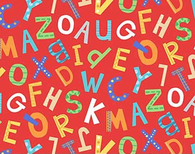 Northcot  - Alphabet Soup  - Flannel - F22391-24 - Multi Colored - Red Background  - Sold by the Yard