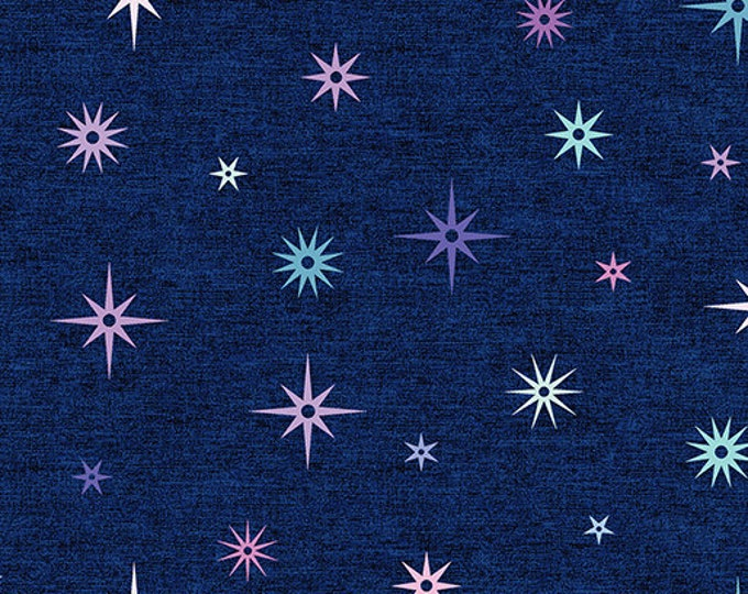 Benartex - Contempo - Crescendo - by Amanda Murphy - Night Sky - Navy -  Stars - 10255-11 - Flowers and Shells  - Sold by the Yard