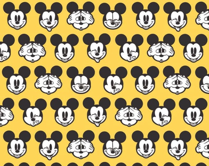 Camelot - Its a Mickey Thing - Mickey Expressions  -  Disney - Mickey Head  - Mickey - Disney Fabric  - YELLOW - Sold by the Yard