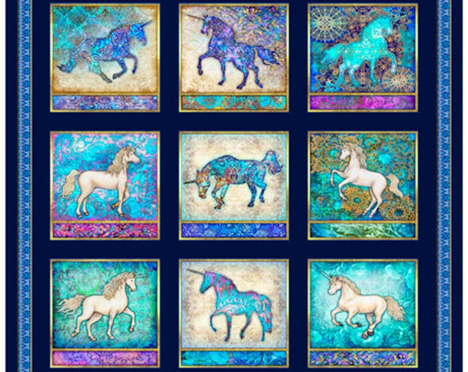 Quilting Treasures - Mystical - Unicorn - Panel - Patches - Navy - Sold by Panel - Unicorn Panel -  27376N