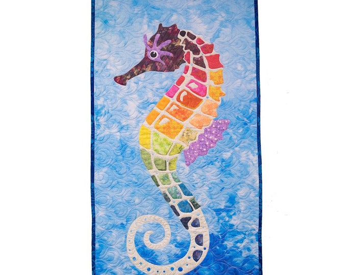 "Sylvester Seahorse - Seahorse - Pre-cut/fused Kit - 20""x40"" - Precut/Fused Applique Kit - precut kit -  Sold by the Kit"