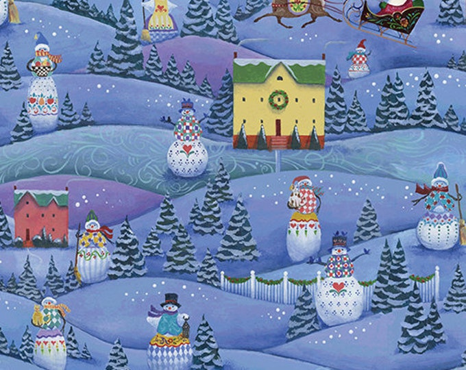 Benartex - A Quilter's Christmas  - Snowman Village   - Blue -  06656-52  - Sold by the Yard