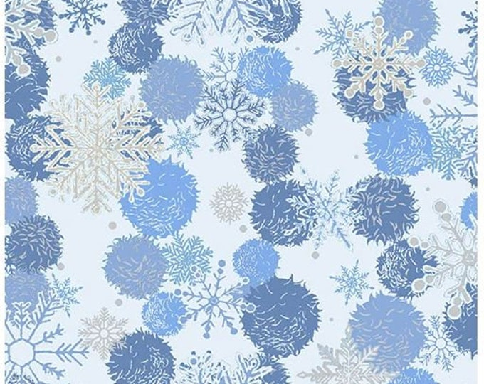 Paint Brush Studios Fabric - Blue Holiday - Silver Metallic - Blue and Silver Snowflakes - 672302 -  Sold by the Yard