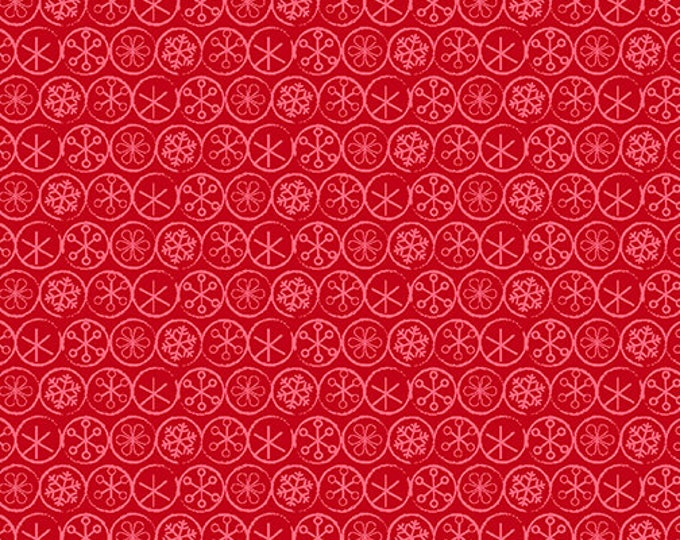 Benartex - Heart and Home - Flake Dot -  Quilt Shop - Christmas - 10328-10 -  Red  / Tone on Tone - Sold by the Yard