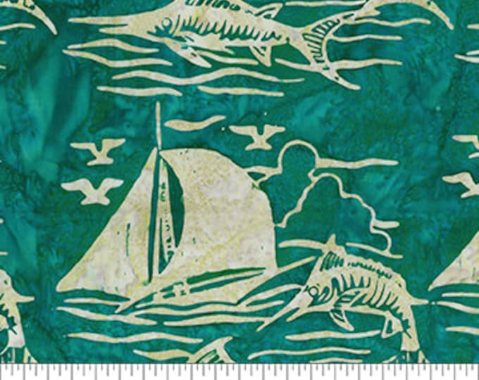Northcott - Banyan Batik - At The Pier - Saling - Sail Boat Batik - Boat Batik - 80370-69  - Batik - Teal/Green- Sold by the yard