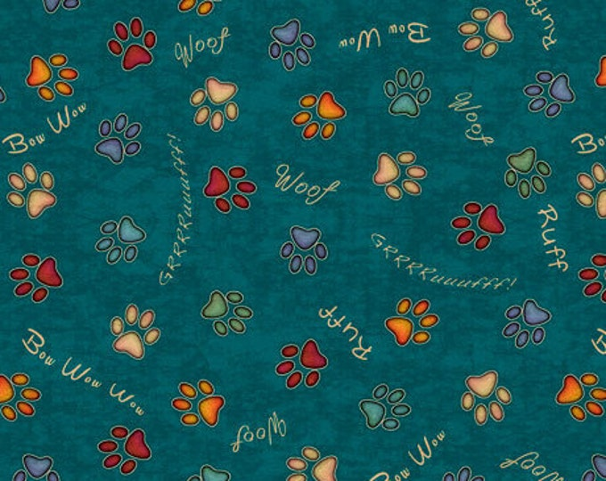 """Quilting Treasures - Must Love Dogs - Paws and Dog sayings - Dark Teal -  36""""x44""""  - 26939Q - Sold by the Yard"""