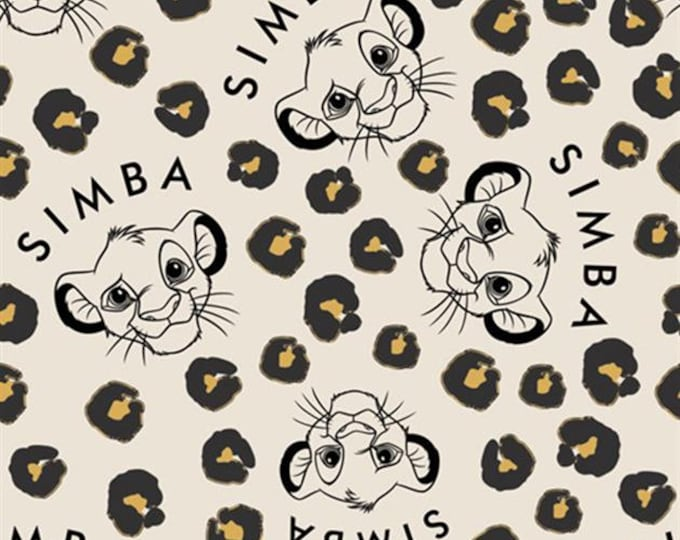 Camelot - Cute and Wild - Simba  - Lion King - Lion Guard -  Disney - Simba Head  - Lion -  Disney Fabric  - Tan/Cream - Sold by the Yard