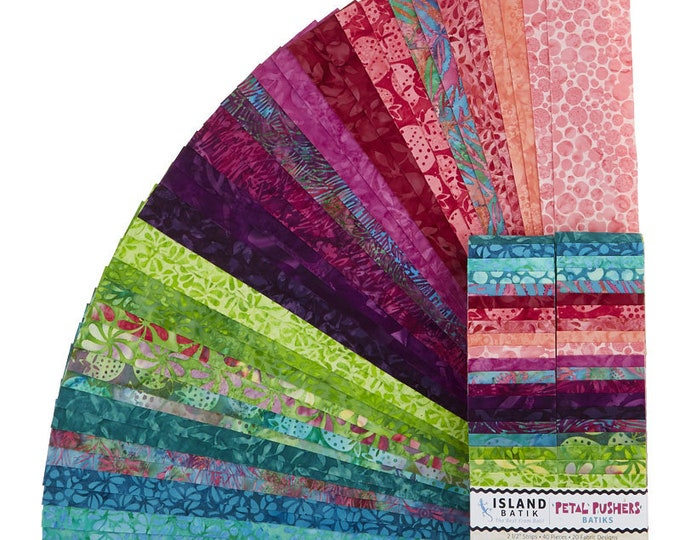 Island Batik - Petal Pushers -  Jelly Roll - 2.5 Inch Strips - 40 Strips - Pink Purple Teal  - Sold as a Jelly Roll