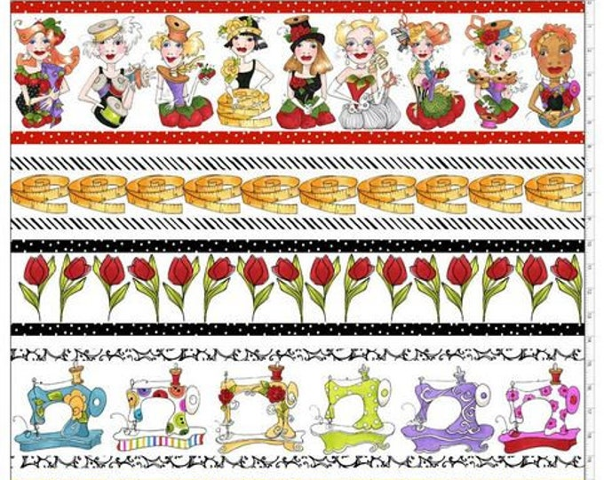 Loralie Design - Sew Curious - Sewing Ladies - Border Stripe - White - 692-346 - Sold by the yard