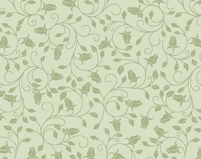 Benartex - Festival of Roses -Trailing Buds - Rose Buds - Green - Pearl -- 6643P42- Sold by the Yard