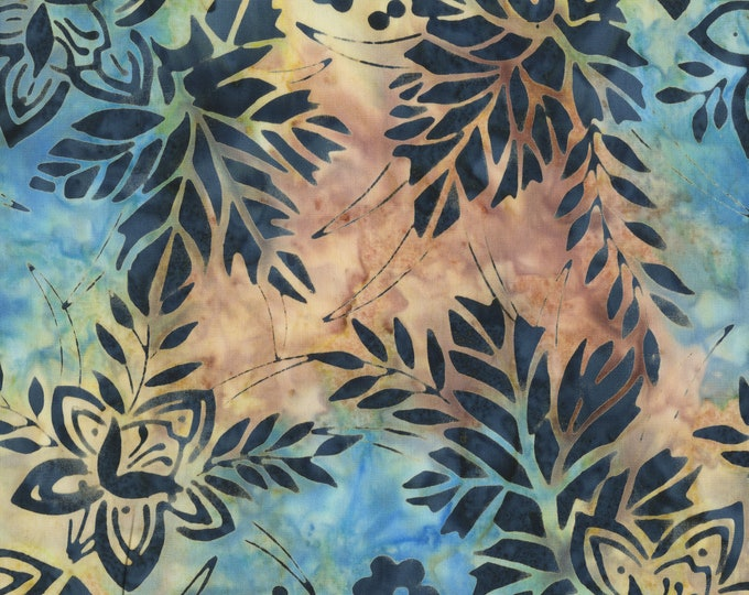 Anthology - Batik - Flower - Floral Batik - Garden - 267Q-3 -  Pink/Blue/Teal - Sold by the yard