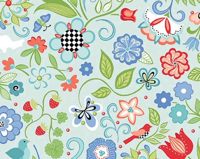 Benartex - Contempo - Folk Art Fantasy - by Amanda Murphy - Floral Light Bllue - 3131-05 - Sold by the Yard