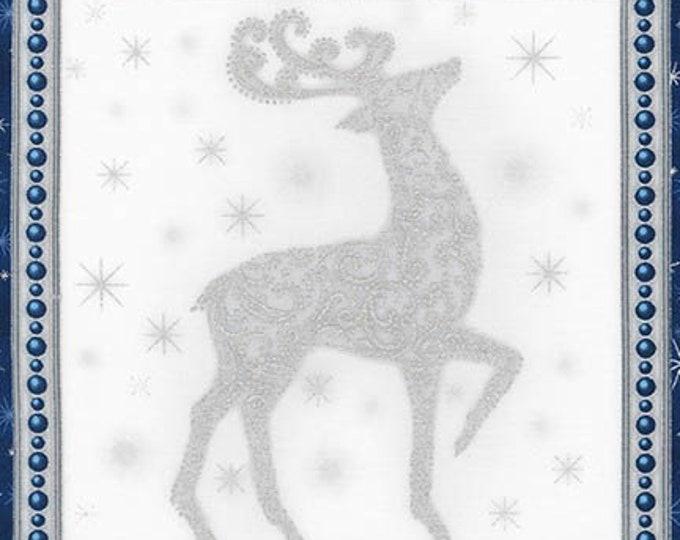 Robert Kaufman - Winter Grandeur - Christmas Panel - Silver Metallic - SRKM-16588-80 - Blue - Sold by the Panel