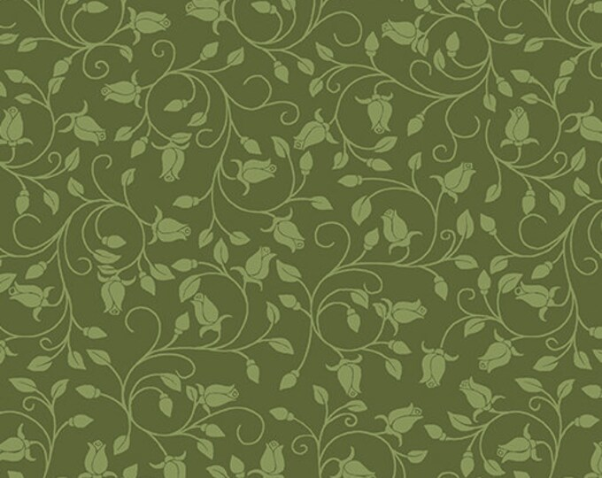 Benartex - Festival of Roses -Trailing Buds - Rose Buds - Medium Green - Pearl -- 6643P43- Sold by the Yard
