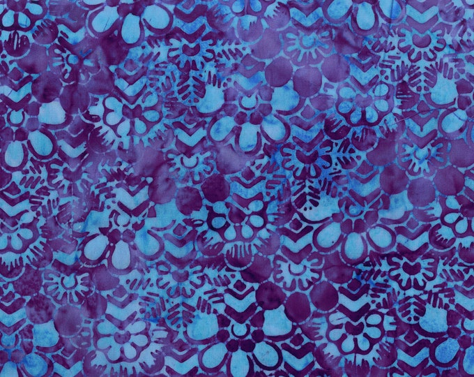 Anthology - Batik - floral - floral batik - flower -  Garden - 202Q-4 - Purple/Teal - Sold by the yard