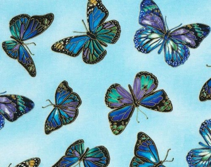 Timeless Treasures -  Enchant - Butterfly - Fabric - All over Butterly Print -  Gold Metallic - CM5875 - Sky -  Sold by the Yard