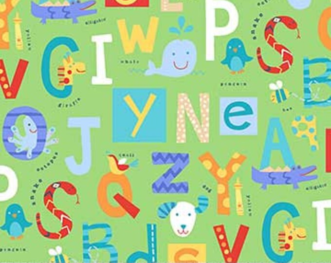 Northcot  - Alphabet Soup  - Flannel - F22390-74 - Multi Colored - Green Background  - Sold by the Yard