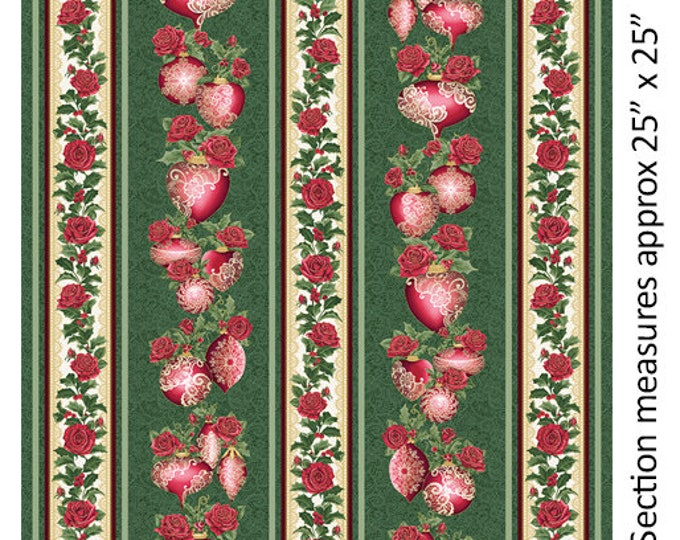 Benartex - A Festive Season II - Border Stripe -Lace Ornament - Gold Metallic - Lace - Green/Red - 2617M44B - Sold by the Yard