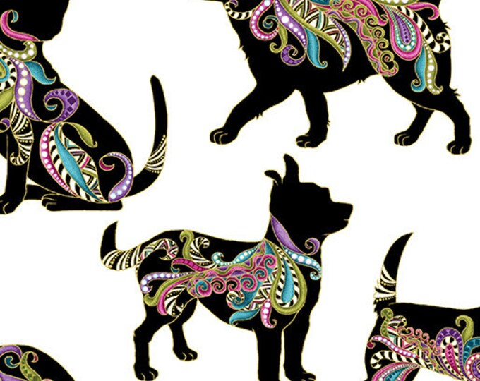 Benartex - Dog On It - Hot Diggity Large-  Gold  Metallic - Dogs - White  -  6253M12B- Sold by the Yard