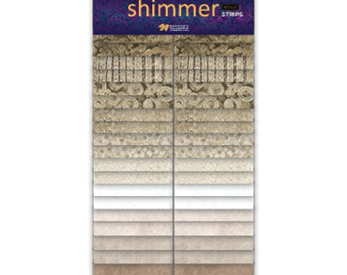 NEW - Northcott Shimmer - Sand - SSHIMMER40-12 - Jelly Roll Pack - 2.5 Inch Strips - New Shimmer - Tan - Silver Metallic - 40 Strips