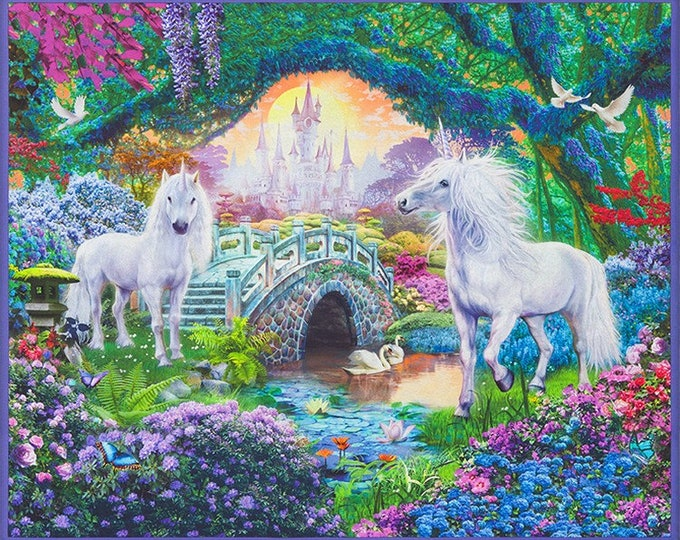 Robert Kaufman - Picture This - Unicorn  - Sweet - Castle - 17041-287  -  Panel - Sold by Panel