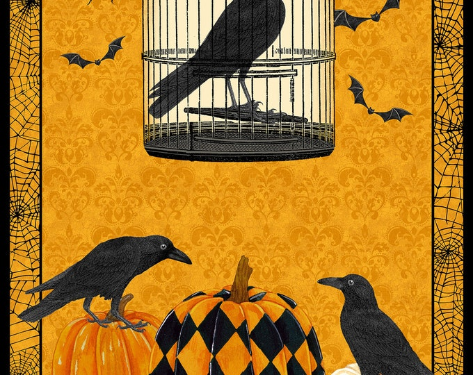 Northcott - Raven's Claw - Halloween Panel - Panel - Raven Panel - Harlequin Pumpkins - Raven - DP22859-54 - S0ld by the Panel