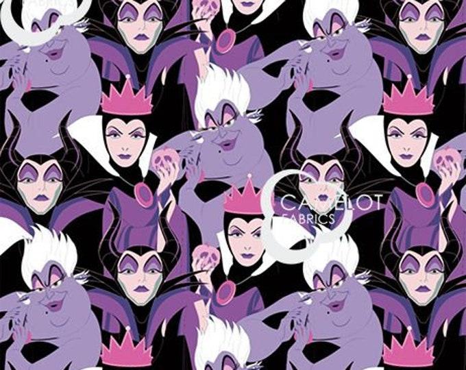 NEW - Camelot - Disney Diabolical Villains fabric Disney Villain-Maleficent, Ursula, Cruella De Vil, The Evil Queen- Sold by the Yard
