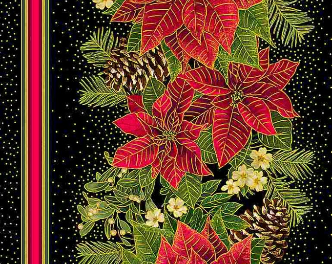 """Timeless Treasures - Holiday Spice - Red Poinsettas - Border Stripe - Christmas - CM8511 - Black - Gold Metallic - 36""""x43""""--Sold by the Yard"""