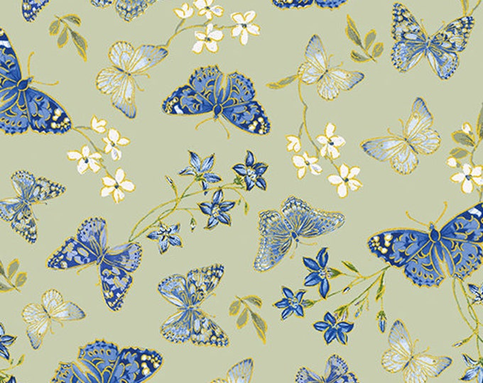Kanvas for Benartex - Blue Symphony - Butterfly - Sage -  Gold Metallic  - 7790M-04 - Sold by the Yard
