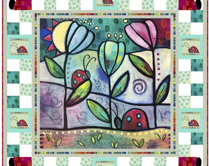 """Quilting Treasures - The Garden Path - Quilt Pattern made with Painterly Garden - Ladybug - Size 50""""x50"""" - Sold by the Pattern"""