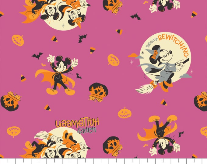Camelot - Disney - Minnie Mouse and Mickey Mouse - Bewitching Halloween - Gray or Purple -  85270907 - Sold by the Yard