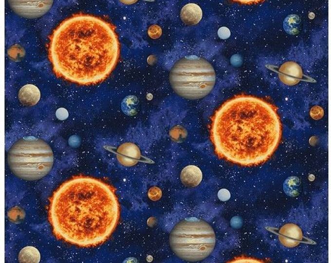 Studio E - Planetary Mission - Solar System - Hubble Telescope - Space - Astronaut  -  5305-77 -  Blue - Sold by the Yard