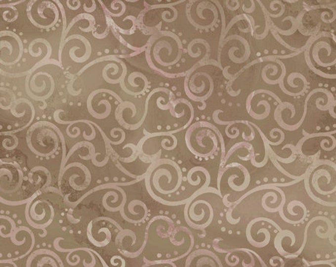"""Quilting Treasures - Ombre Scroll -  Taupe -  24174AK - Sold by the Yard - 36"""" x 45"""""""