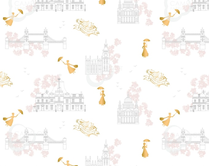 "Camelot - Mary Poppins - approx 36""x44"" - Disney  - London Toile Fabric - White Background - Gold Metallic - 85460102L - Sold by the Yard"