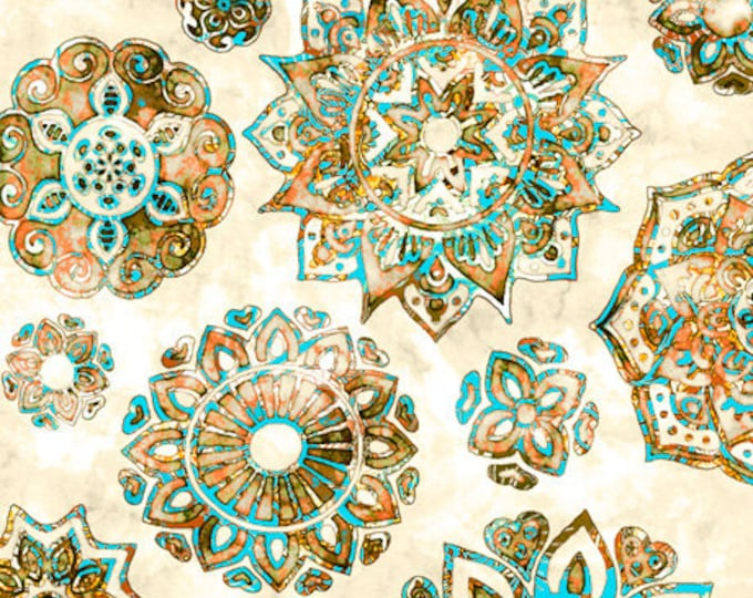 Quilting Treasures - Kashmir - Mandalas -  Cream - Sold by the Yard  -  27399E