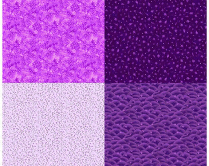 "Quilting Treasures - His Majesty - The Tree - Fat Quarter Panel - Sprigs - Purple - 27565V - 36""x43"" - Sold by the Panel"