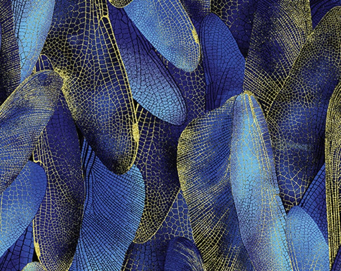Kanvas for Benartex - Dance of the Dragonfly - Gilded Wings - Navy - 8501-59 - Gold Metallic - Sold by the Yard