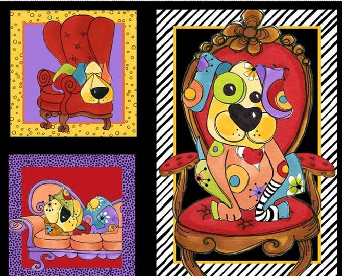 Loralie Design - Joyful Dog Panel - Dogs Panel  - Black - Dog - 692-286 -  Sold by Panel