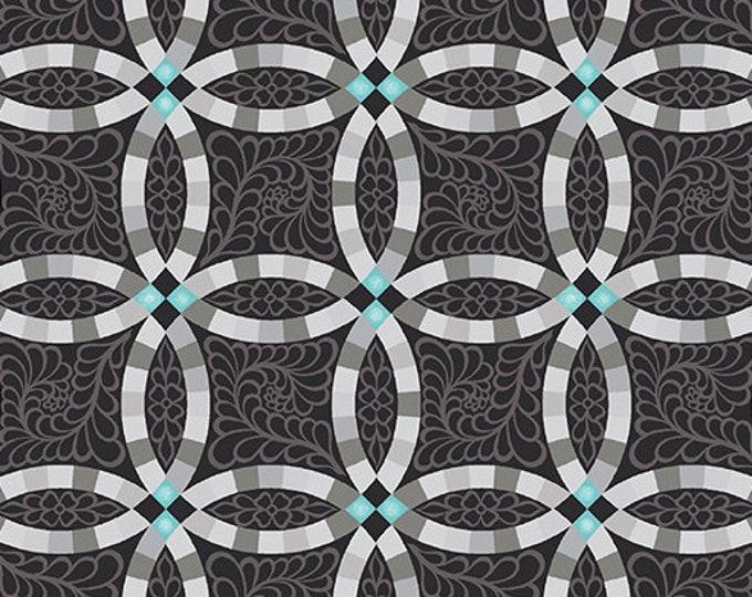 Benartex - Contempo - Folk Art Fantasy - by Amanda Murphy - Wedding Ring -  Black - 3136-12 - Sold by the Yard