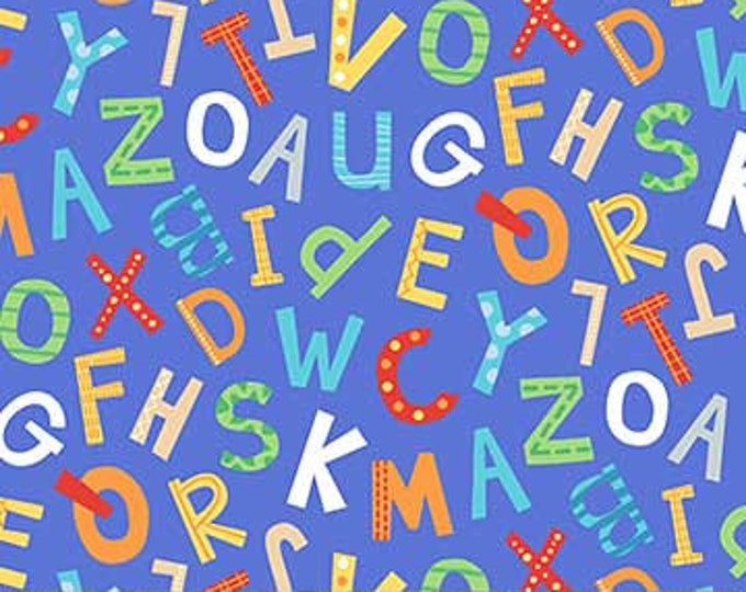 Northcot  - Alphabet Soup  - Flannel - F22391-44 - Multi Colored - Blue Background  - Sold by the Yard