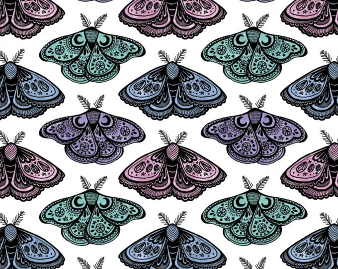 Camelot - Mystic - Moths -  Mystic Moth - Quilter - Tarot Card - White -- 21191301J - Sold by the Yard