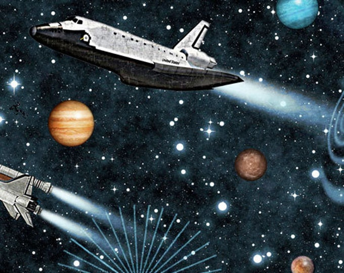 Quilting Treasures - Intergalactic - Planets - Shuttle - Rockets - Black - 26743J - Sold by the Yard