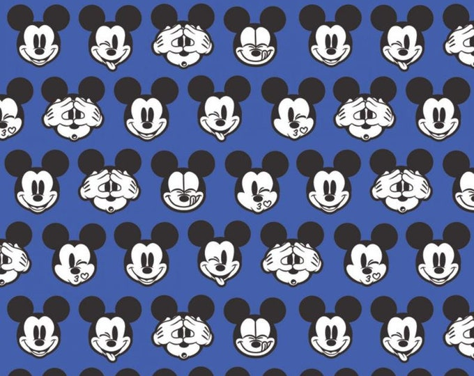 Camelot - Its a Mickey Thing - Mickey Expressions  -  Disney - Mickey Head  - Mickey - Disney Fabric  - BLUE - Sold by the Yard