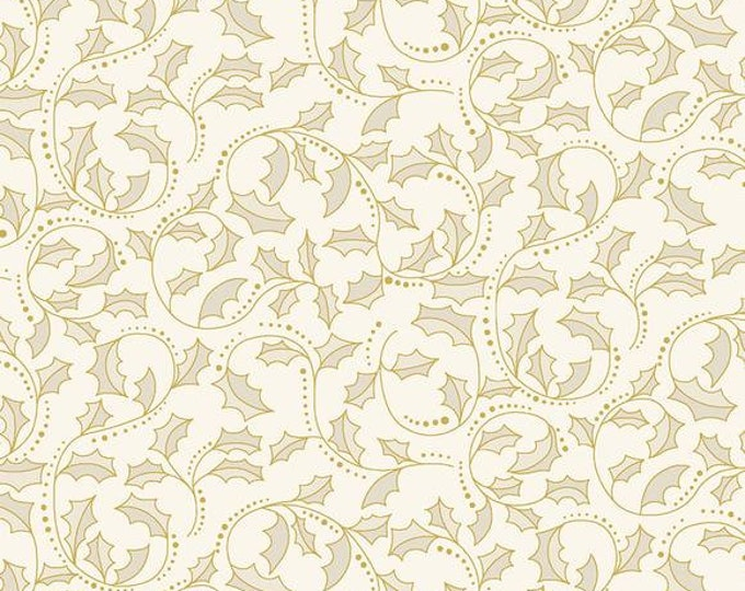 Benartex - A Festive Season II - Golden Leaf Scroll - Holly - Leaf Scroll  - Gold Metallic - Natural - Cream  - 2657M70B - Sold by the Yard