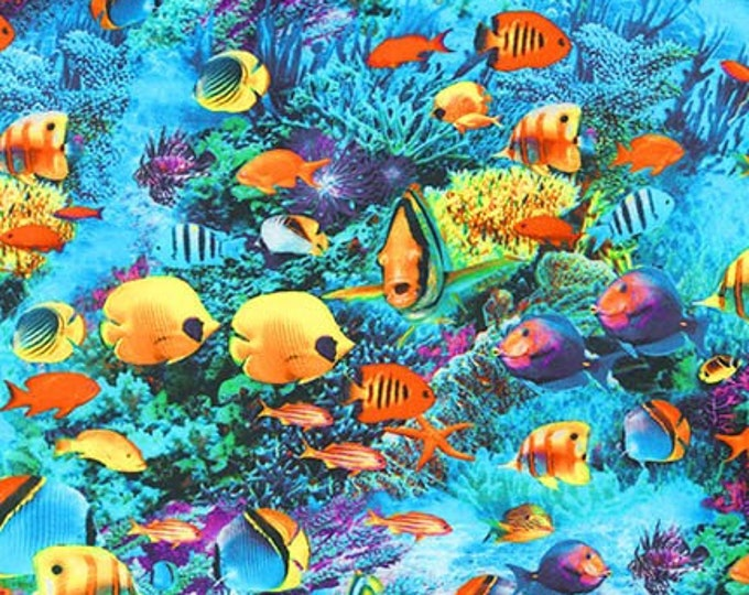 Robert Kaufman - Picture This - Adventure - Sea Life Fabric - 17578-59 - Ocean Fabric - Sold by Yard