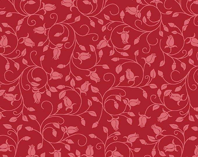 Benartex - Festival of Roses -Trailing Buds - Rose Buds - Red  - Pearl -- 6643P10- Sold by the Yard
